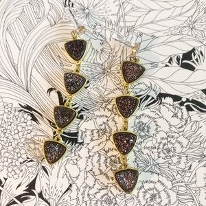 Beautiful Druzy  Heart Shape Drop Earring Metallic